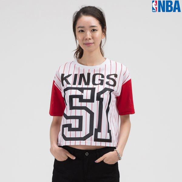 [NBA]SAC KINGS 세로 STRIPE MESH 크롭 TS RD (N142TS726P)