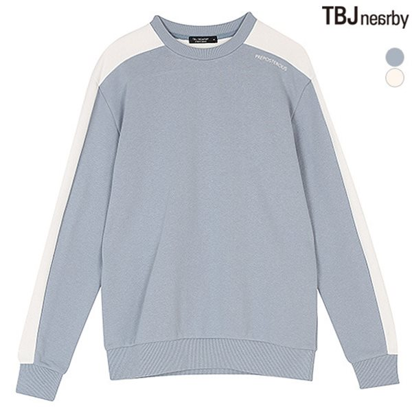 [TBJ]유니 어깨배색 포인트 맨투맨(T181TS160P)