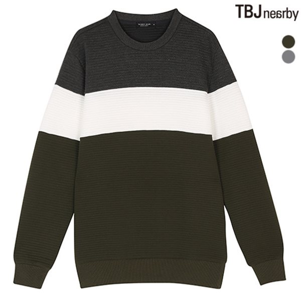 [TBJ]남성 가로퀼팅 3단 컬러블럭 맨투맨(T181TS180P)