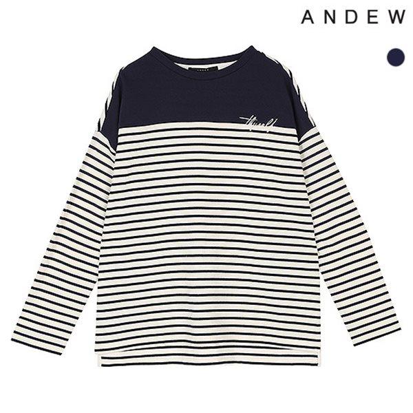 [ANDEW]여성 10수뎅깡 절개배색 티셔츠(O181TS540P)