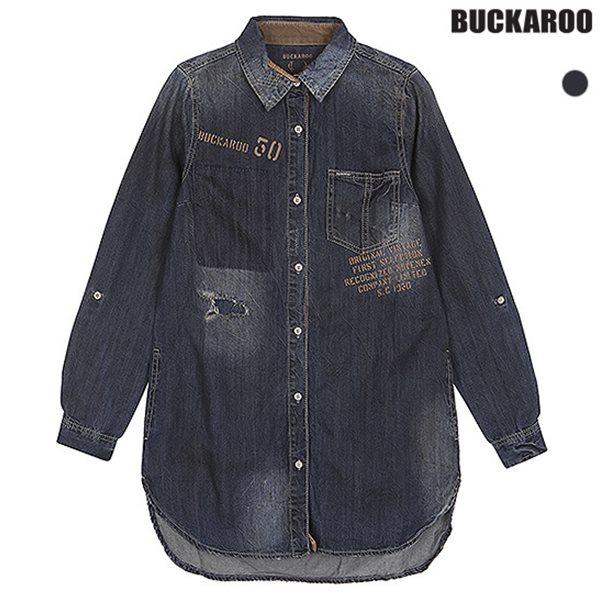 [BUCKAROO]여성 롱기장 레터링 프린트 셔츠 D톤(B153DS560P)