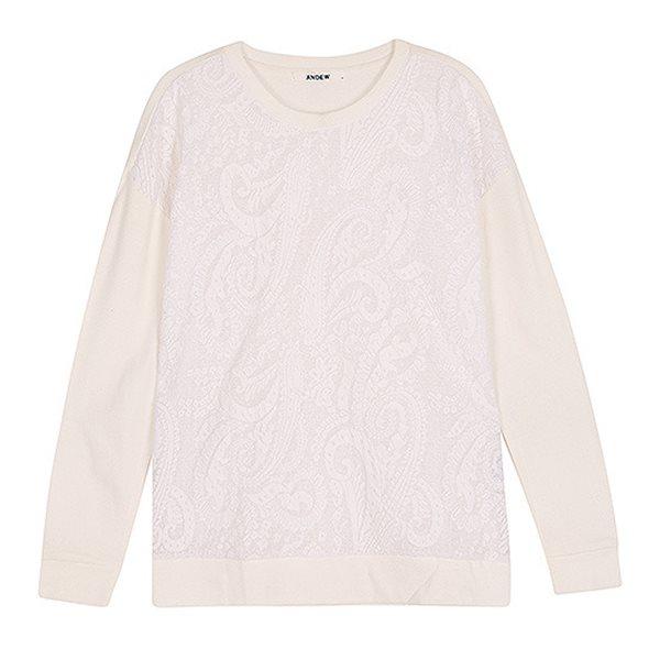 [ANDEW]여성 몸판 레이스 배색 티셔츠 IV(O151TS540P)