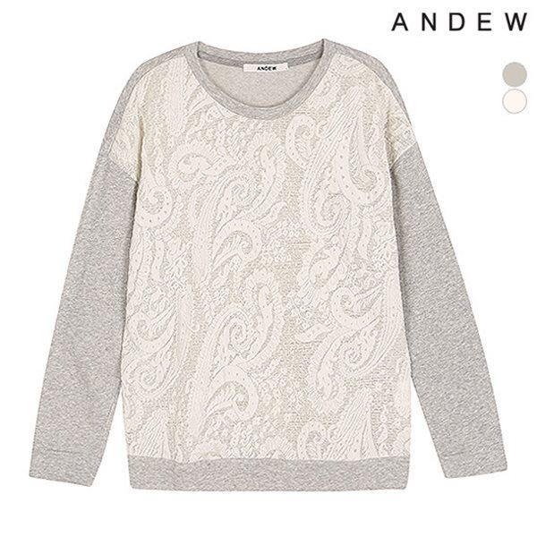 [ANDEW]여성 몸판 레이스 배색 티셔츠 MGR(O151TS540P)