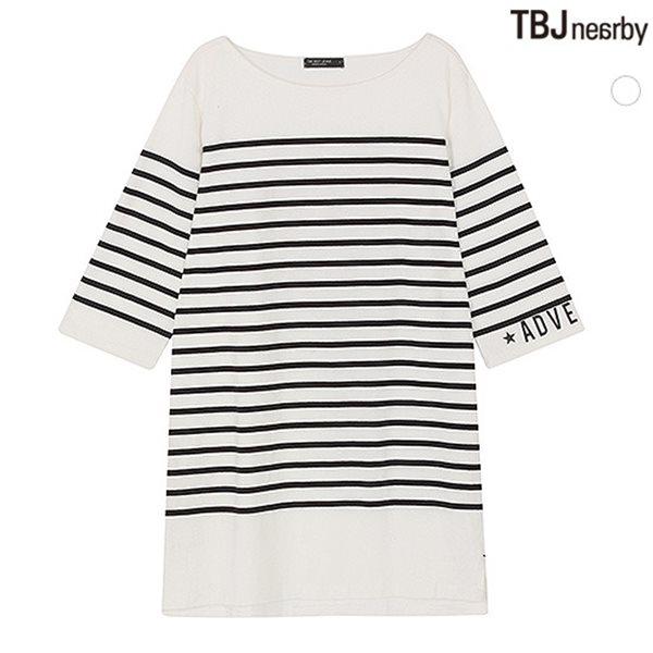 [TBJ]여성 라운드 롱기장 7부소매 마린 스트라이프 티셔츠(T153TS820P)