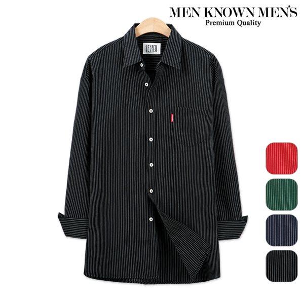 [MKM9]남자 봄 패션 오버핏 프레피 핀 스트라이프셔츠