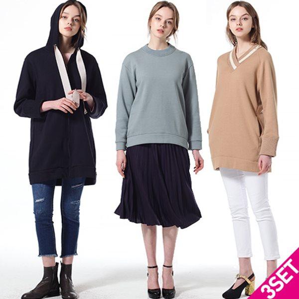 3SET [르오트(LeOT)] 허니밀크 웜 스웨트 티셔츠2+점퍼1 3종세트