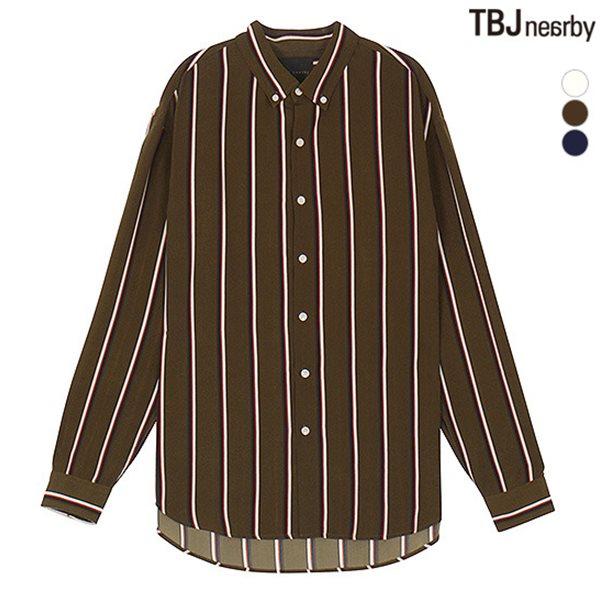[TBJ]남성 폴리 오버핏 멀티스트라이프 셔츠(T181SH120P)