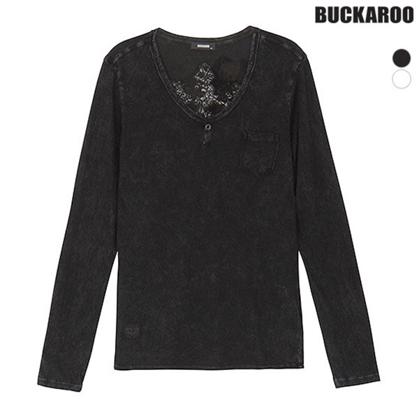 [BUCKAROO]여성 30수 스노우워싱 WING 헨리넥 티셔츠(B181TS650P)