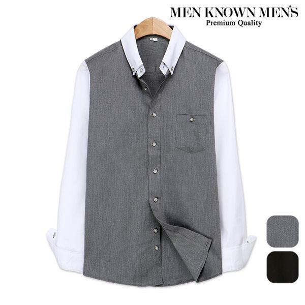 [MKM9]남자 봄 패션 포멀 배색 버튼다운셔츠