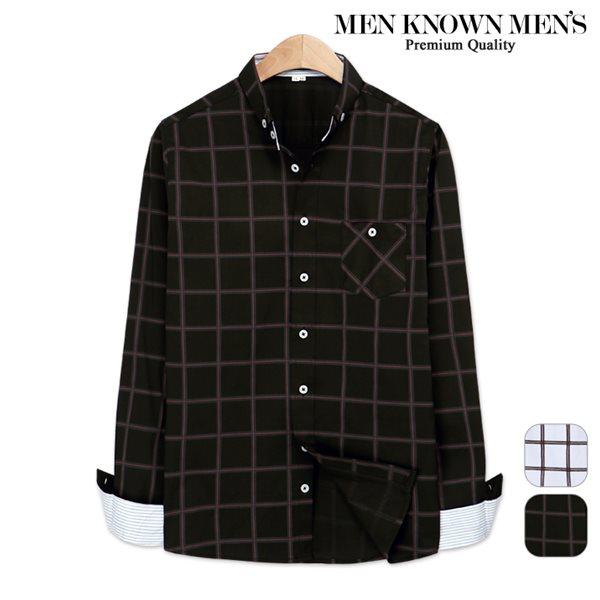 [MKM9]봄 패션 에센셜 더블라인 버튼다운 체크셔츠