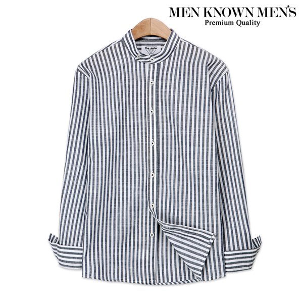 [MKM9]남자 봄 패션 헨리넥 투버튼 스트라이프 셔츠
