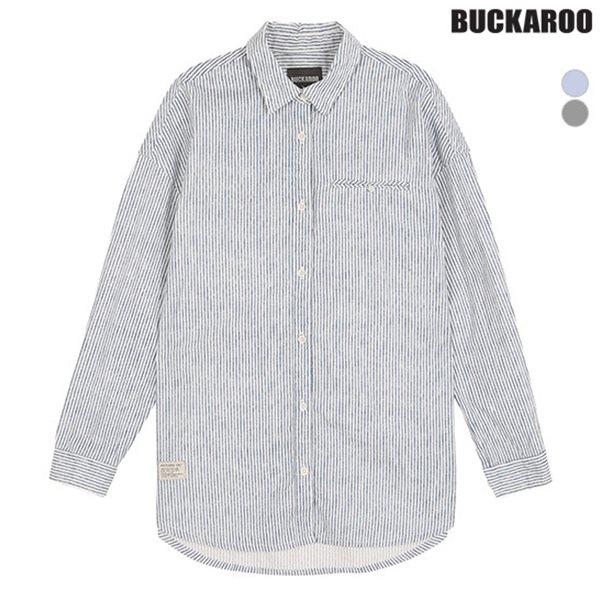 [BUCKAROO]유니 선염 스트라이프 오버핏 셔츠(B181SH010P)