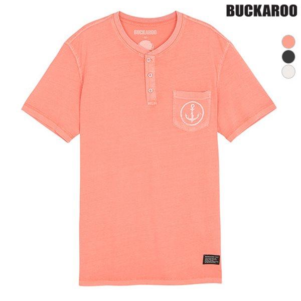 [BUCKAROO]남성 26수피그먼트 우븐배색 헨리넥 티셔츠(B182TS290P)