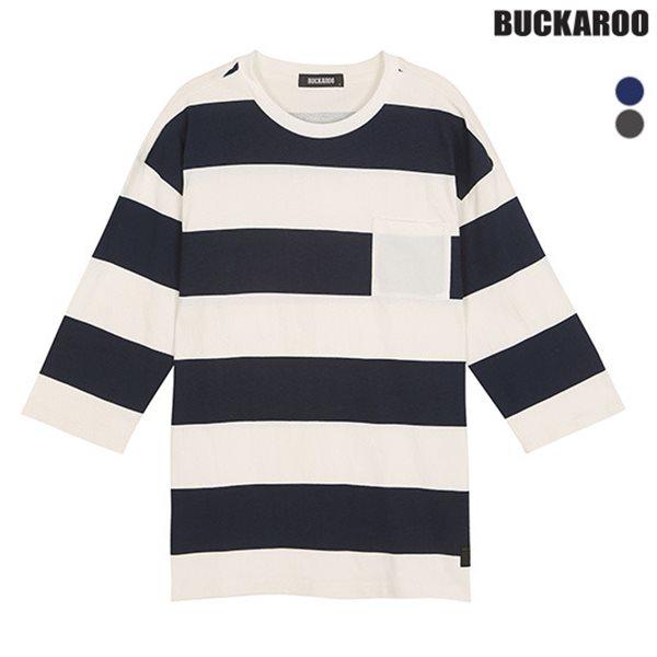 [BUCKAROO]유니 16수 스트라이프 프린 칠부소매 티셔츠(B182TS100P)