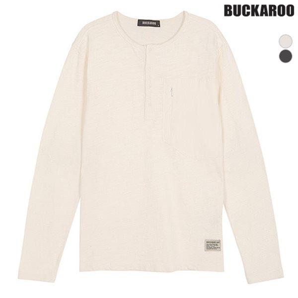 [BUCKAROO]남성 16수 SLUB 피그다잉 헨리넥 티셔츠(B181TS340P)