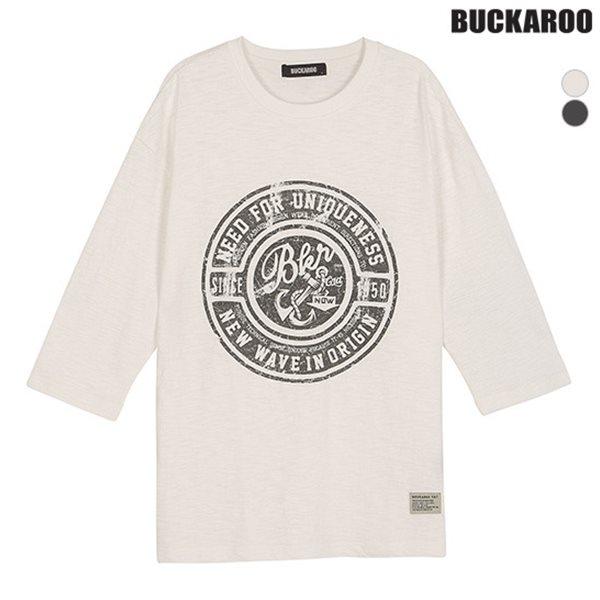 [BUCKAROO]유니 16수 SLUB 루즈핏 7부 R넥 티셔츠(B181TS100P)