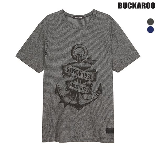 [BUCKAROO]남성 20수 잔 스트라이프 마린 R넥 티셔츠(B182TS350P)