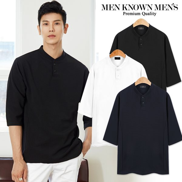 [MKM9]공용 웨어러블 헨리넥 7부 티셔츠