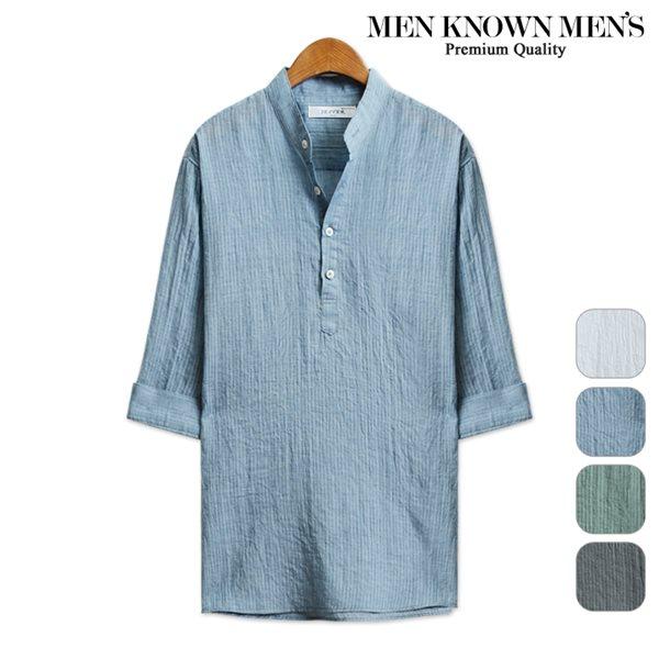 [MKM9]아사 스트라이프 헨리넥 7부셔츠