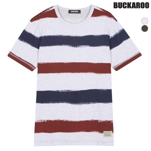 [BUCKAROO]남성 20수 프린트 스트라이프 R넥 티셔츠(B182TS370P)