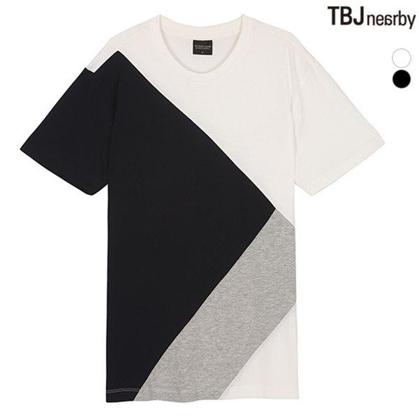[TBJ]남성 라운드 블럭 배색 티셔츠(T152TS140P)