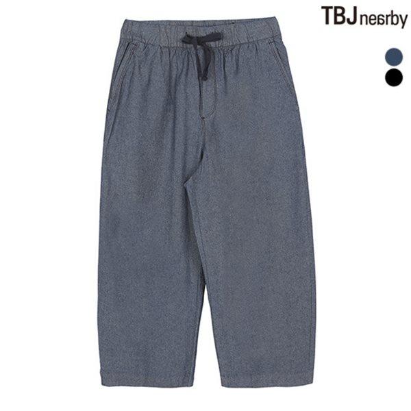[TBJ]여성 7부 샴브레이 와이드 밴딩 팬츠(T152PT771P)