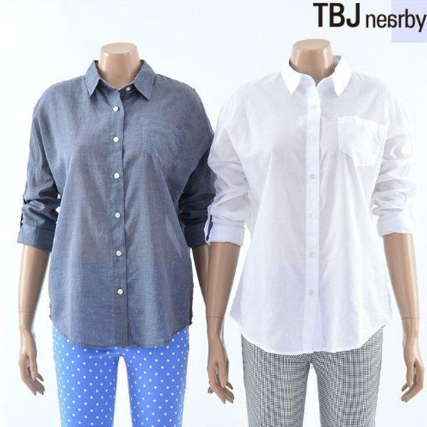 [TBJ]여성 루즈핏 롱 기장 셔츠(T142SH700P)