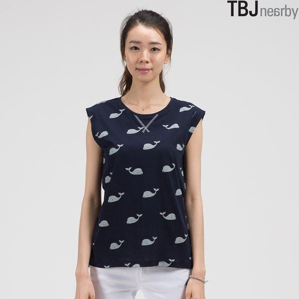 [TBJ]여성 전판프린트 넓은 어깨 나시 (T142TS590P)
