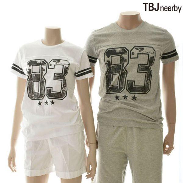 [TBJ]유니 라운드 럭비프린트 티셔츠 (T142TS090P)
