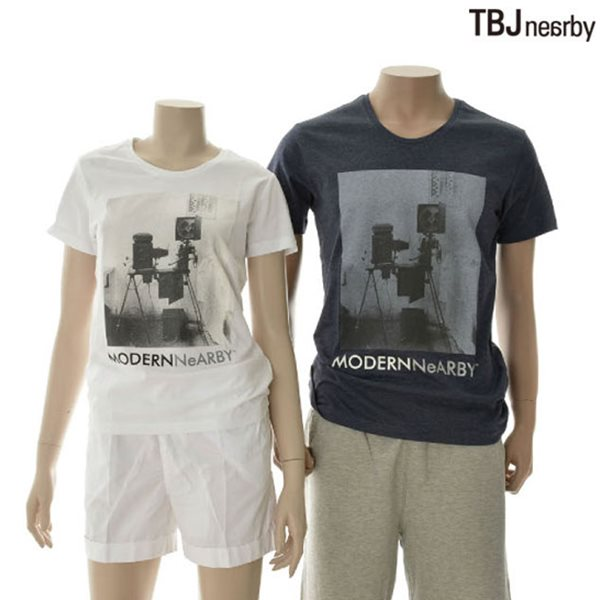 [TBJ]유니 라운드 모노톤 그래픽 티셔츠(T142TS060P)