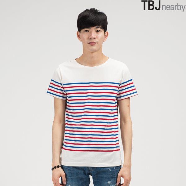 [TBJ]유니 보트넥 마린 스트라이프 티셔츠 2 (T142TS112P)