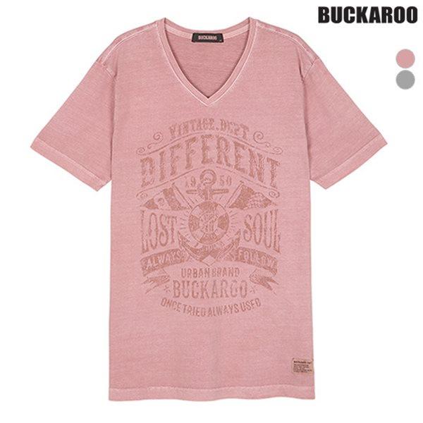 [BUCKAROO]남성 20수 피크먼트 V넥 티셔츠(B182TS200P)