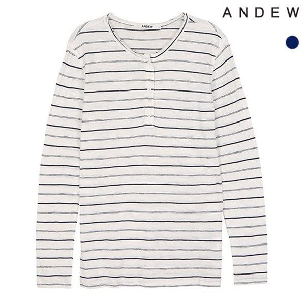 [ANDEW]여성 슬럽 스트라이프 7부 티셔츠(O152TS504P)