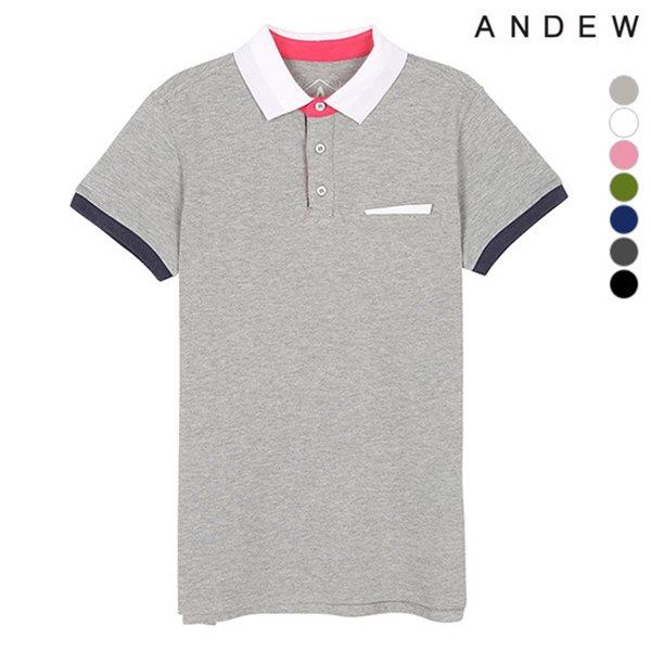 [ANDEW]유니 멜란지 배색 피케 티셔츠(O152TS020P)