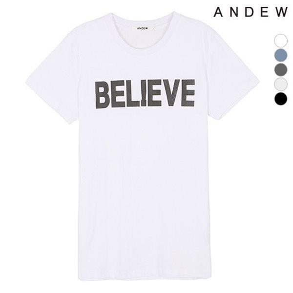 [ANDEW]유니 아플리케 레터링 티셔츠(O152Z2001P)