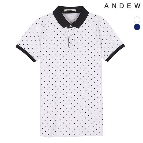 [ANDEW]유니 전판 도트프린트 피케 티셔츠(O152TS040P)