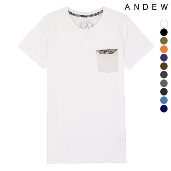 [ANDEW]유니 포켓배색 RN 티셔츠(O152TS012P)