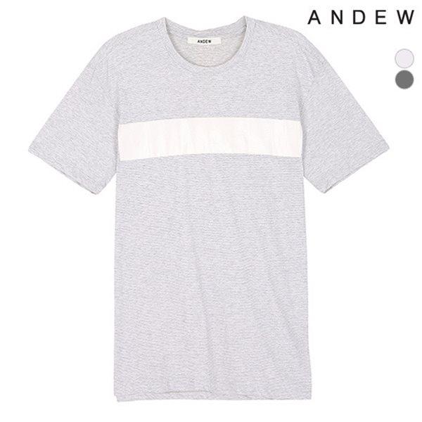 [ANDEW]남성 잔 스트라이프 우븐 배색 티셔츠(O152TS115P)
