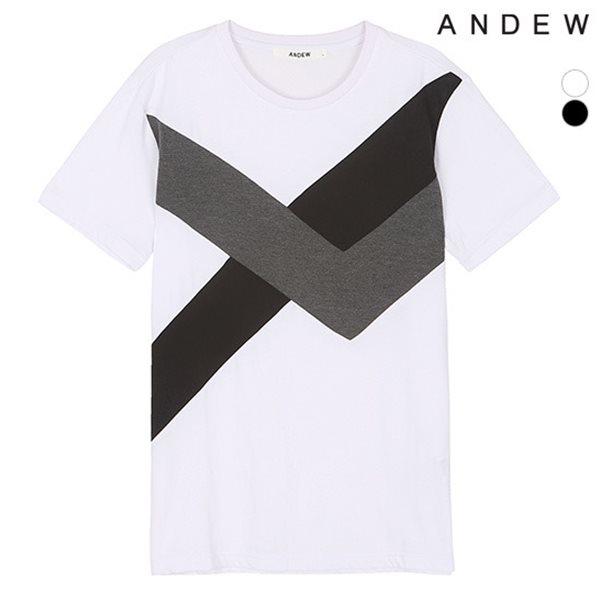 [ANDEW]유니 비대칭 절개 반팔 티셔츠(O152TS033P)