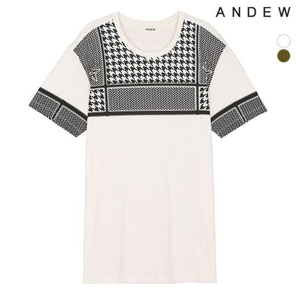 [ANDEW]남성 지도리 프린트 라운드 티셔츠(O152TS124P)