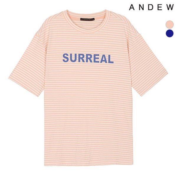 [ANDEW]여성 라운드 프린트 반팔 티셔츠(O182TS530P)