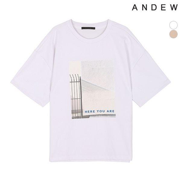 [ANDEW]여성 면강연분또 전사프린트 반팔 티셔츠(O182TS630P)