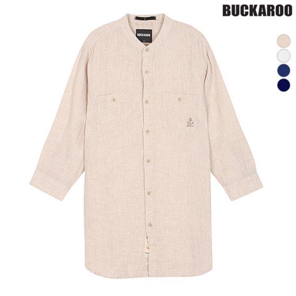 [BUCKAROO]남성 린넨 100% 칠부소매 차이나카라 셔츠(B182SH430P)