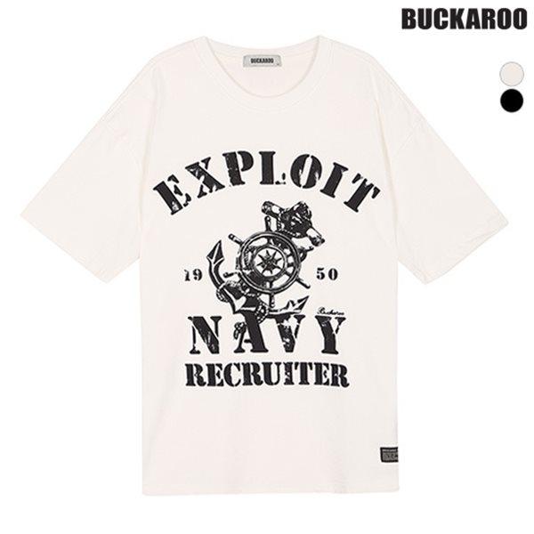 [BUCKAROO]남성 16수 마린 프린트 R넥 루즈 티셔츠(B182TS210P)