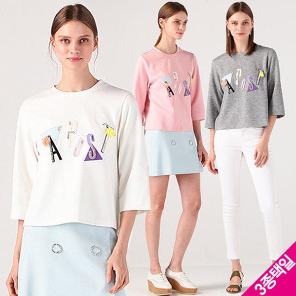 [르오트/어퍼스트로피] 쥬얼 APOST 스웨트 7부소매 티셔츠