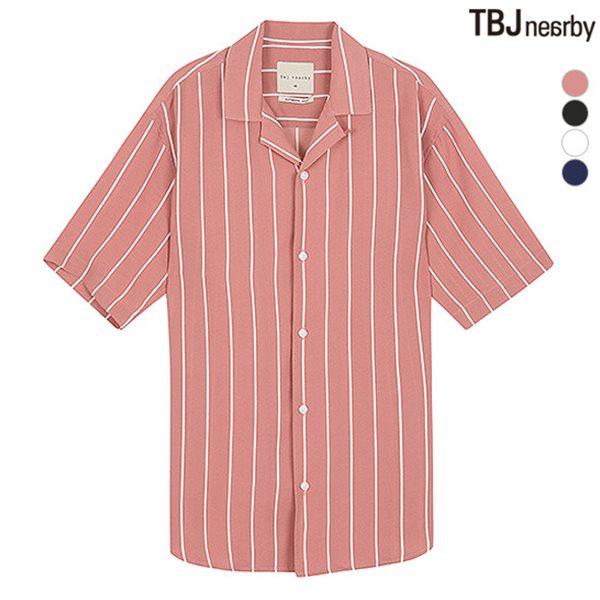 [TBJ]남성 5부 폴리 쿠반카라 스트라이프 셔츠(T182SH330P)