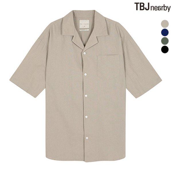 [TBJ]남성 5부 코튼린넨 쿠반카라 솔리드 셔츠(T182SH300P)