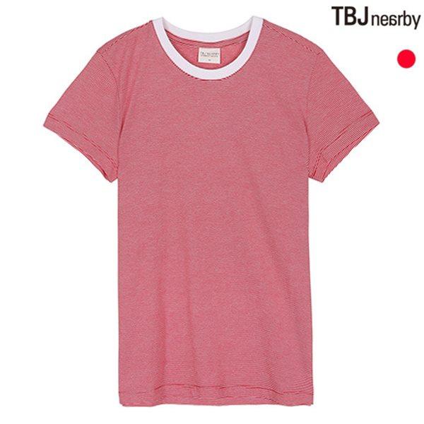 [TBJ]기획 유니 라운드 잔스트라이프 티셔츠(T142Z5040P)