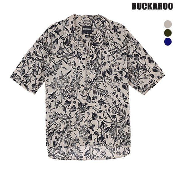 [BUCKAROO]유니 코튼린넨 하와이안 패턴 오픈카라 반팔셔츠(B182SH120P)