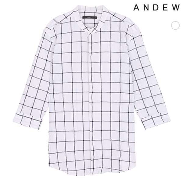 [ANDEW]남성 헨리넥 서커 체크7부셔츠(O182SH260P)